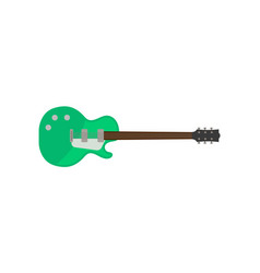 green electric guitar rock music instrument vector image