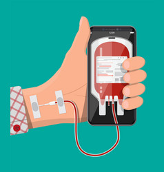 hand connected to smart phone with blood bag vector image