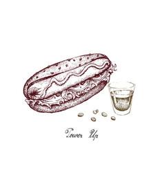 Hand drawn of delicious hot dog with espresso coff vector
