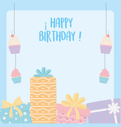 happy birthday gift boxes hanging cupcakes vector image