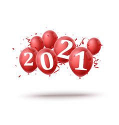 happy new year background with red balloon vector image