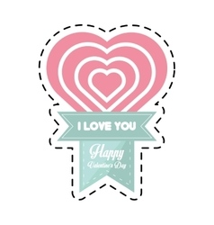 Happy valentines day card big heart cut line vector
