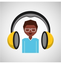 Headphones music cartoon guy glasses vector