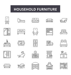 Household furniture line icons signs set vector