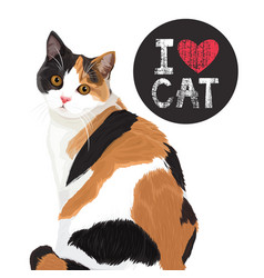 I love cute cat vector