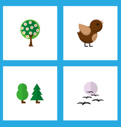 icon flat bio set of garden birds sparrow and vector image