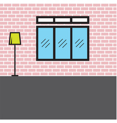 Interior design with window and lamp vector