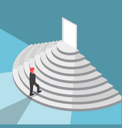 Isometric businessman walking up staircase to the vector