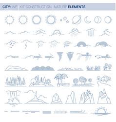 line set nature elements vector image