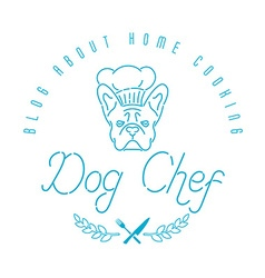 Logo with french bulldog in chefs hat and twigs vector