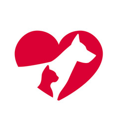 love pet icon dog and cat logo symbol for animal vector image