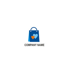 love shopping bag company logo vector image
