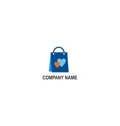 love shopping bag company logo vector image