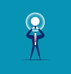 manager holding best idea bulb creative good idea vector image