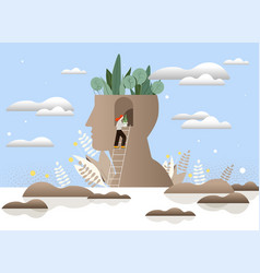 Mental peace and awareness concept vector
