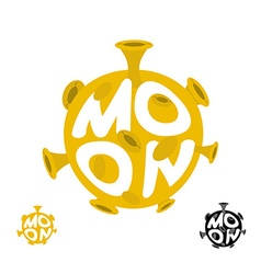 Moon logo Emblem with yellow planet vector image