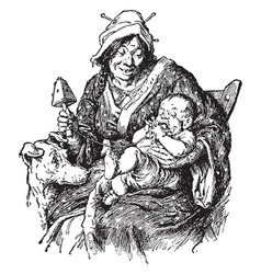 Mother with her baby vintage vector