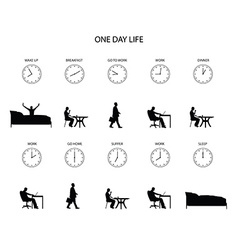 One day life of office worker vector