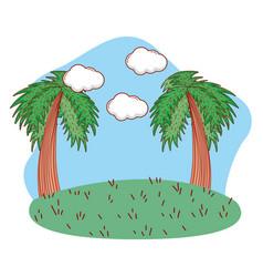 Outdoors landscape scenery cartoon vector