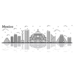 Outline mexico city skyline with historical vector