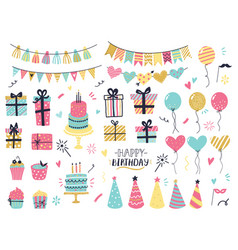 party celebration hand drawn elements greeting vector image