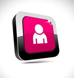 Person 3d square button vector image