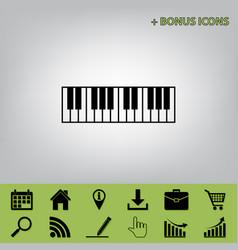 Piano keyboard sign black icon at gray vector