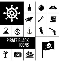 Pirate icons black set vector image