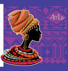 Portrait african woman in ethnic turban vector