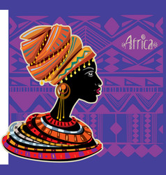 portrait of african woman in ethnic turban vector image