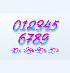 rainbow sale lettering numbers in 3d style vector image