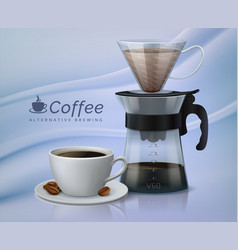 realistic coffee glass container with paper vector image
