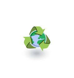 Recycle arrows and earth isometric flat icon 3d vector