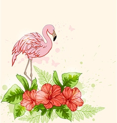 Red flowers and pink flamingo vector