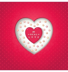 Red heart in cut heart with pearl vector