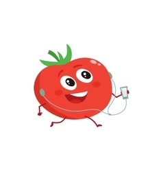 Ripe red running tomato with music player and vector image
