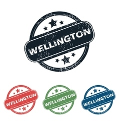 Round Wellington city stamp set vector
