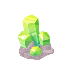 Sapphire or topaz green mineral gem stone crystal vector