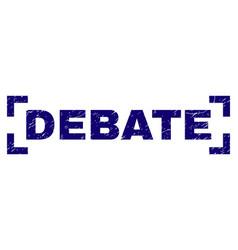 Scratched textured debate stamp seal between vector