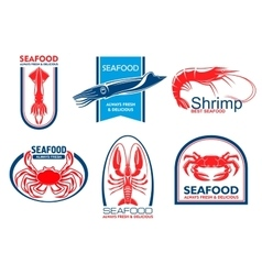 Seafood icons fish food emblem vector