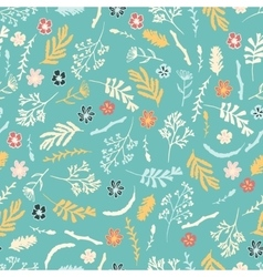 Seamless floral pattern on dark brown background vector