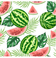 seamless pattern with watermelon and palm leaves vector image