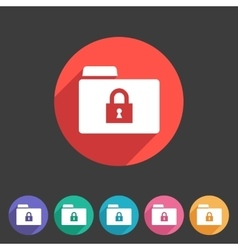 Secure locked folder icon flat web sign symbol vector image