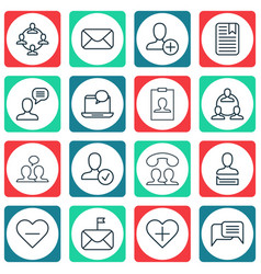 Set of 16 social icons includes speaking people vector