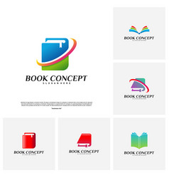 set of book logo concept smart learning education vector image