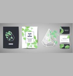 set of botanical retro wedding invitation card vector image
