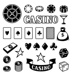 Set of casino gambling game objects and icons vector