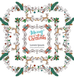 Set of Christmas vintage frames vector