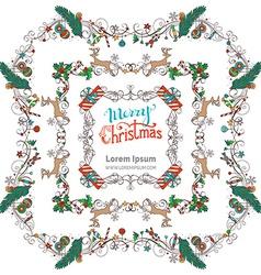 Set of Christmas vintage frames vector image