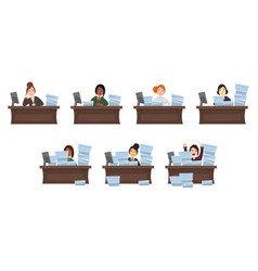 set of different nationalities women workload vector image